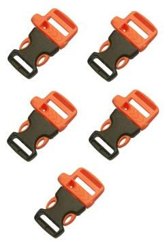 5 X Emergency Whistle Buckles For Paracord Bracelets - Orange/Black