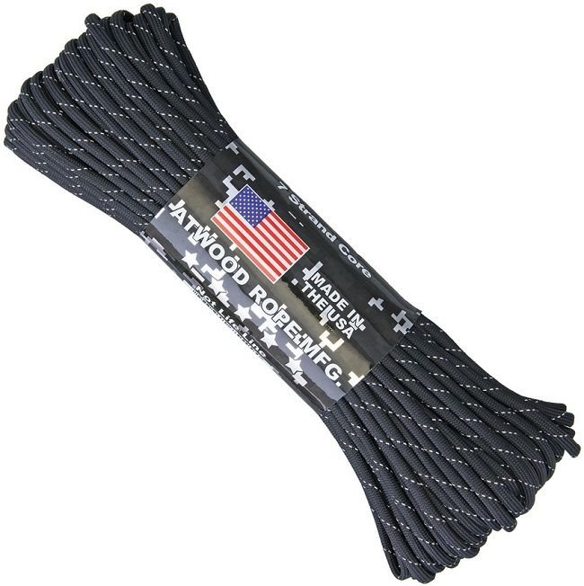 550 Reflective Paracord - 7 Strand Core - Made in the USA - Black
