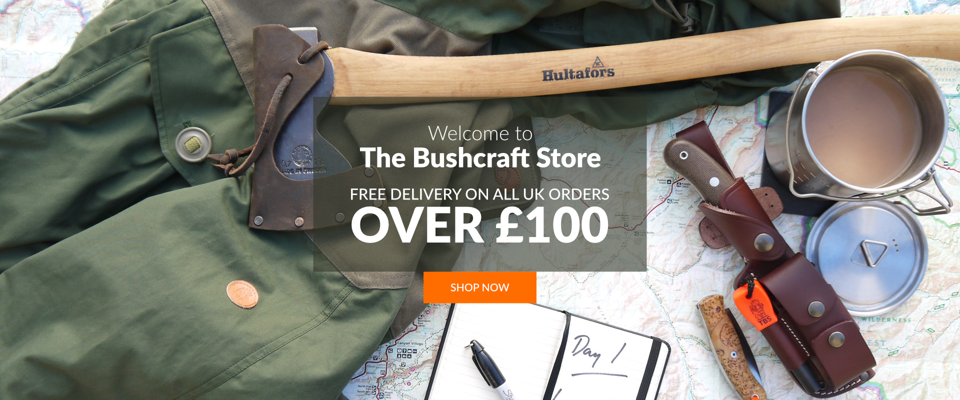 Free Delivery on orders over £100 at The Bushcraft Store