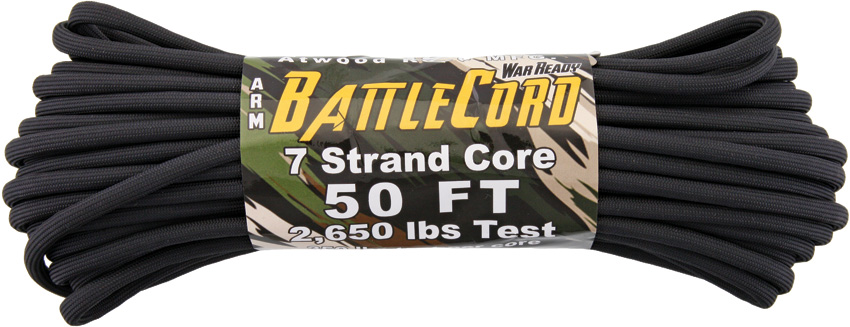 ARM BattleCord - Black 50ft (15m) - Regular paracord on steroids - 2,650lb Breaking Strain!!!