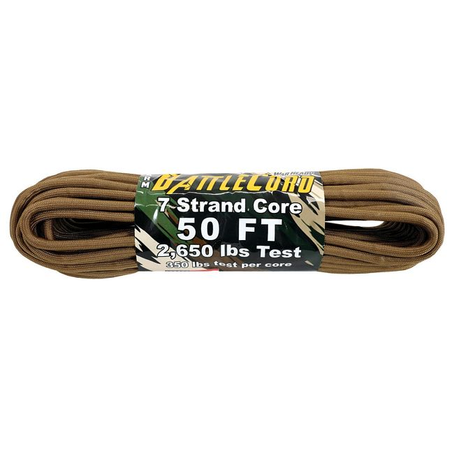 ARM BattleCord - Coyote 50ft (15m) - Regular paracord on steroids - 2,650lb Breaking Strain!!!