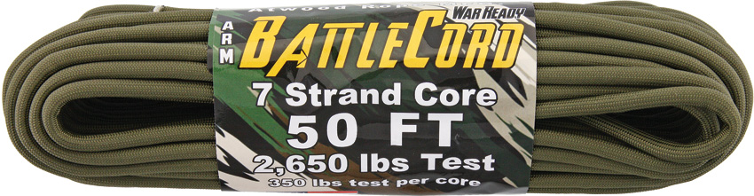 ARM BattleCord - Olive Green 50ft (15m) - Regular paracord on steroids - 2,650lb Breaking Strain!!!