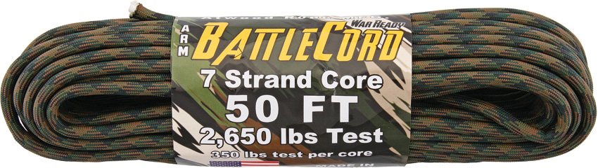 ARM BattleCord - Woodland Camo 50ft (15m) - Regular paracord on steroids - 2,650lb Breaking Strain!!!