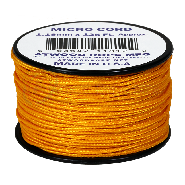 Micro Cord - 1.18mm Micro Paracord - 125ft - Air Force Gold