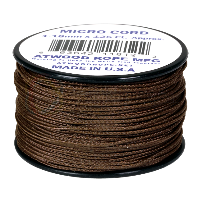 Micro Cord - 1.18mm Micro Paracord - 125ft - Brown