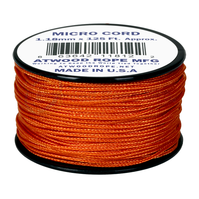 Micro Cord - 1.18mm Micro Paracord - 125ft - Burnt Orange
