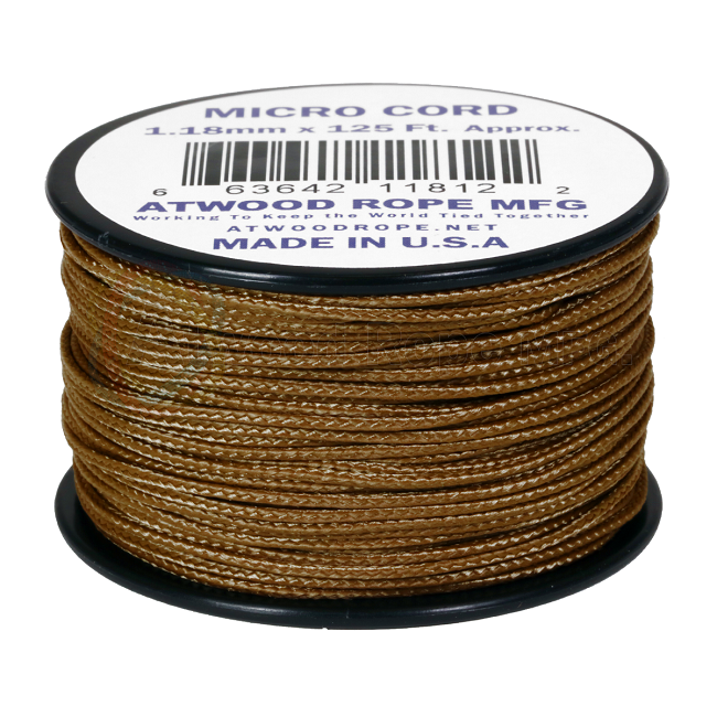 Micro Cord - 1.18mm Micro Paracord - 125ft - Coyote Brown