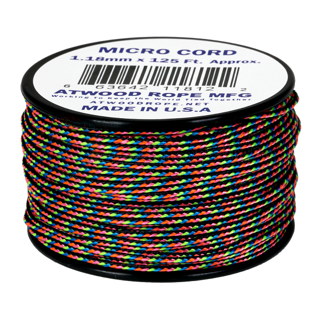 Micro Cord - 1.18mm Micro Paracord - 125ft - Dark Stripes