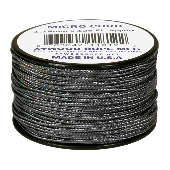 Micro Cord - 1.18mm Micro Paracord - 125ft - Graphite