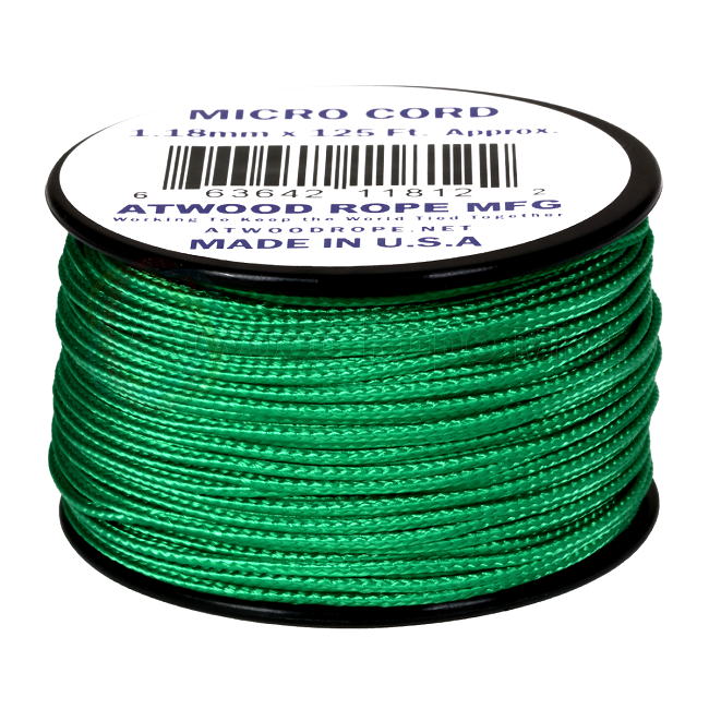 Micro Cord - 1.18mm Micro Paracord - 125ft - Green