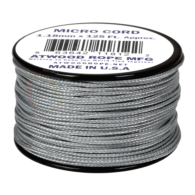 Micro Cord - 1.18mm Micro Paracord - 125ft - Grey