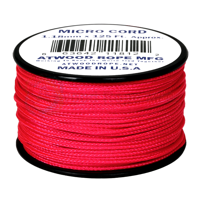 Micro Cord - 1.18mm Micro Paracord - 125ft - Hot Pink