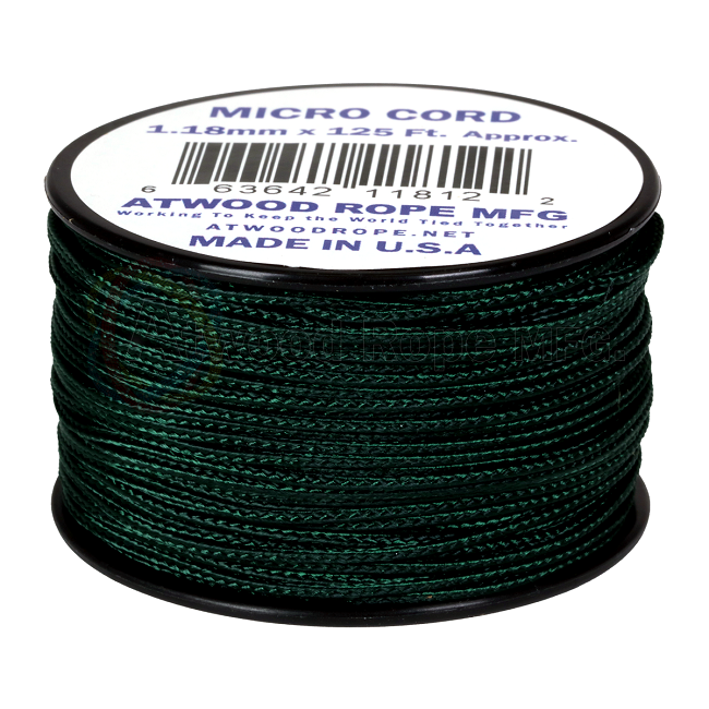 Micro Cord - 1.18mm Micro Paracord - 125ft - Hunter Green