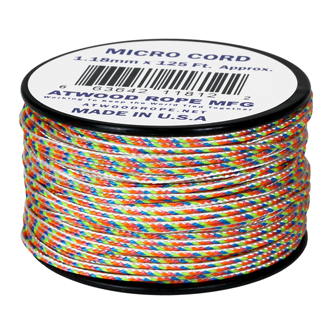 Micro Cord - 1.18mm Micro Paracord - 125ft - Light Stripes