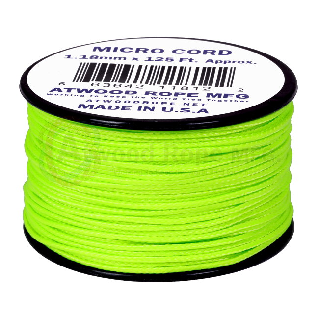 Micro Cord - 1.18mm Micro Paracord - 125ft - Neon Green