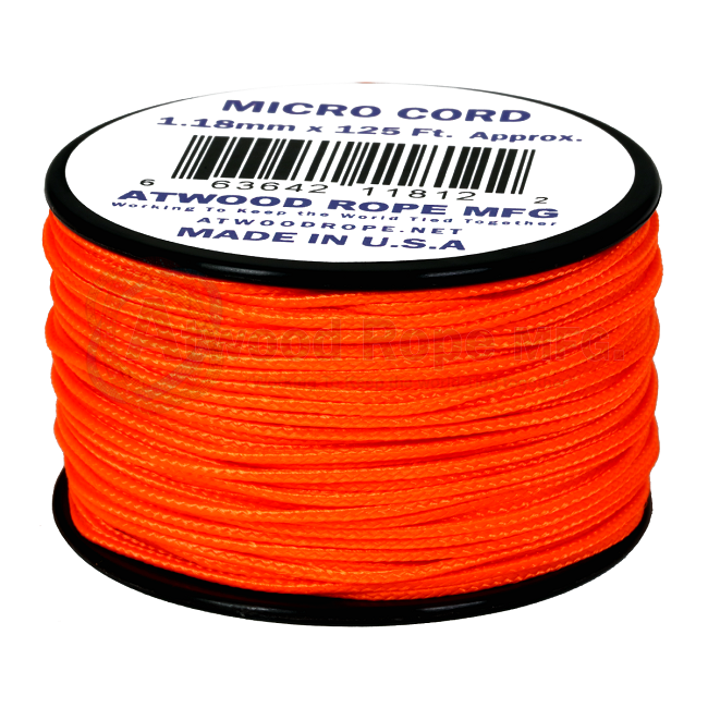 Micro Cord - 1.18mm Micro Paracord - 125ft - Neon Orange