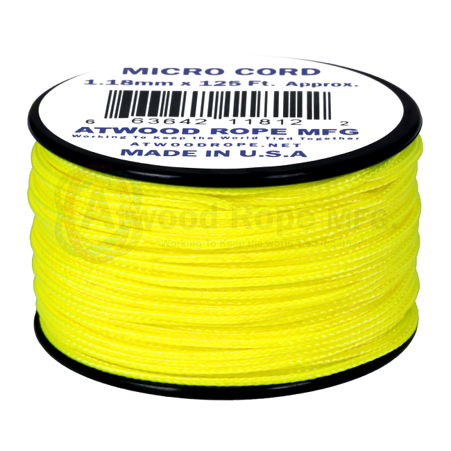 Micro Cord - 1.18mm Micro Paracord - 125ft - Neon Yellow