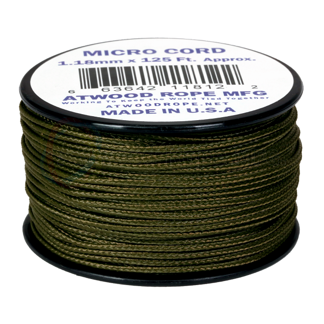 Micro Cord - 1.18mm Micro Paracord - 125ft - Olive Green