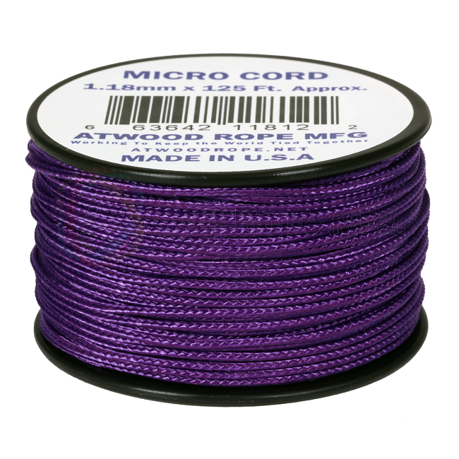 Micro Cord - 1.18mm Micro Paracord - 125ft - Purple