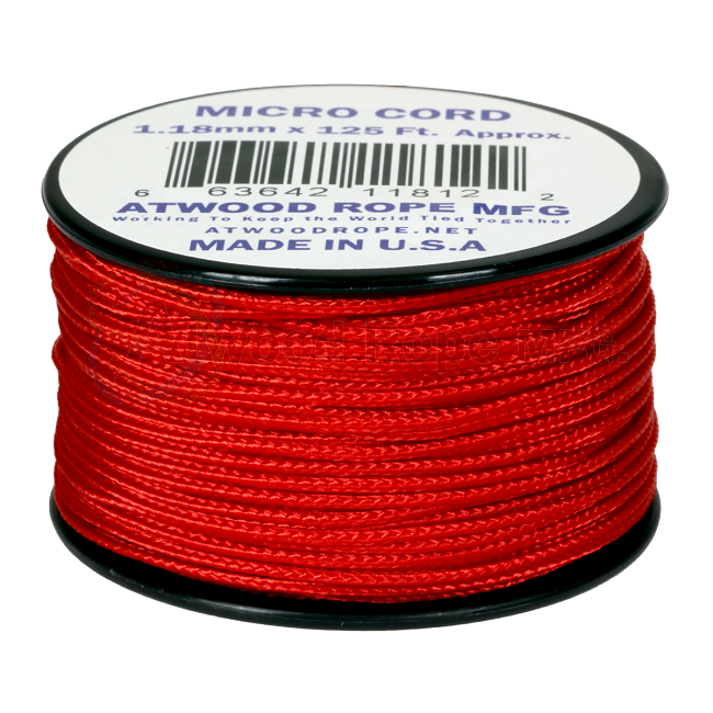 Micro Cord - 1.18mm Micro Paracord - 125ft - Red