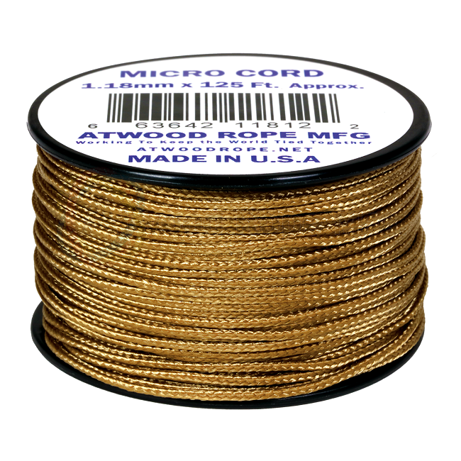 Micro Cord - 1.18mm Micro Paracord - 125ft - Tan
