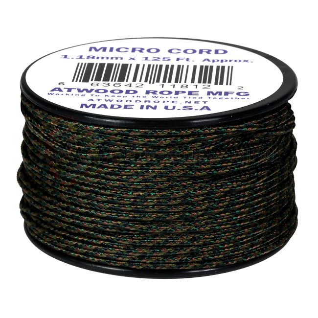 Micro Cord - 1.18mm Micro Paracord - 125ft - Woodland Camo