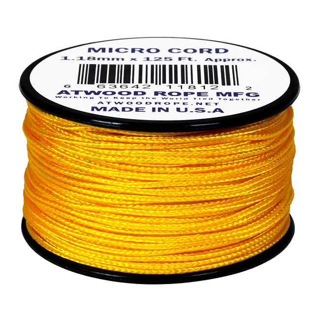 Micro Cord - 1.18mm Micro Paracord - 125ft - Yellow