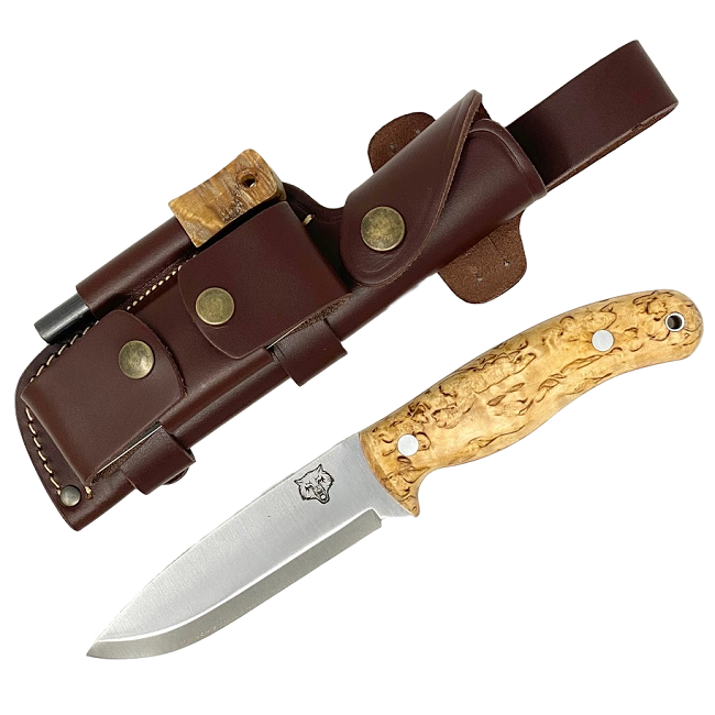 Mk II TBS Timberwolf Bushcraft Knife - DC4 & Firesteel Edition - Curly Birch