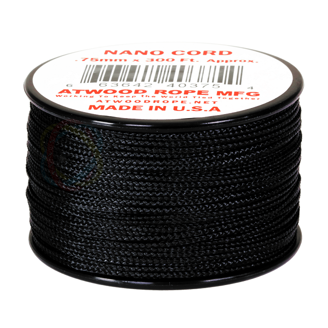Nano Cord - 0.75mm x 300 Feet (100m) of Nano Paracord - Black