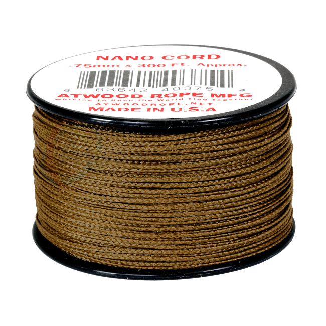 Nano Cord - 0.75mm x 300 Feet (100m) of Nano Paracord - Coyote