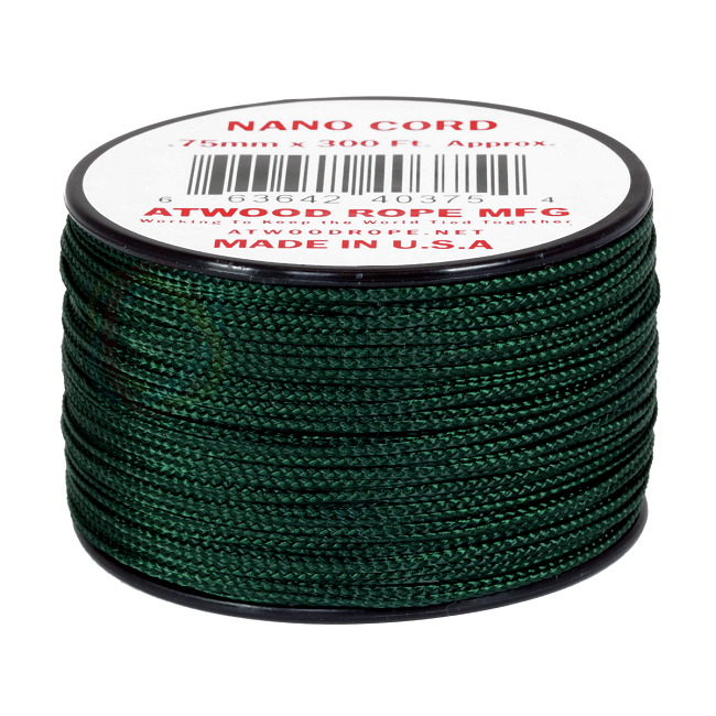 Nano Cord - 0.75mm x 300 Feet (100m) of Nano Paracord - Hunter Green
