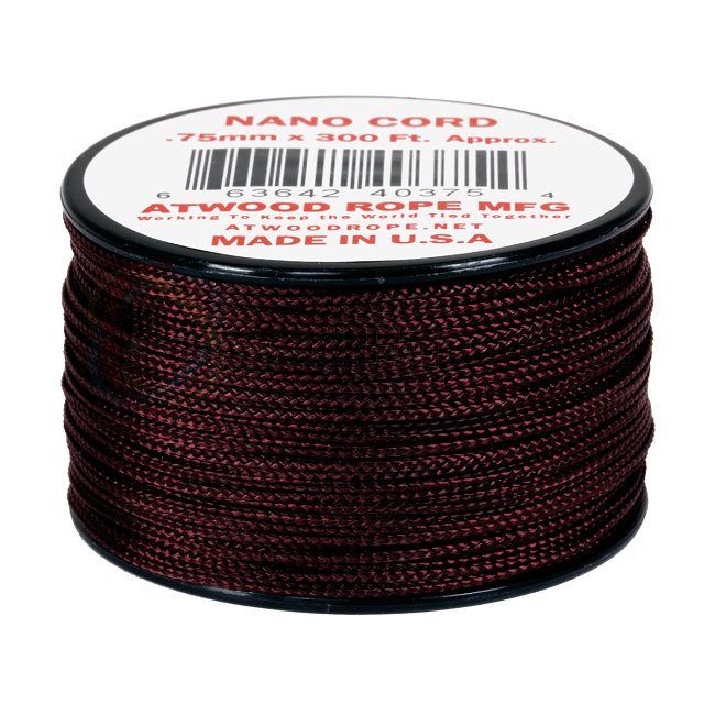 Nano Cord - 0.75mm x 300 Feet (100m) of Nano Paracord - Maroon