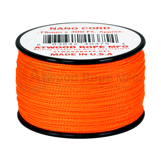 Nano Cord - 0.75mm x 300 Feet (100m) of Nano Paracord - Neon Orange