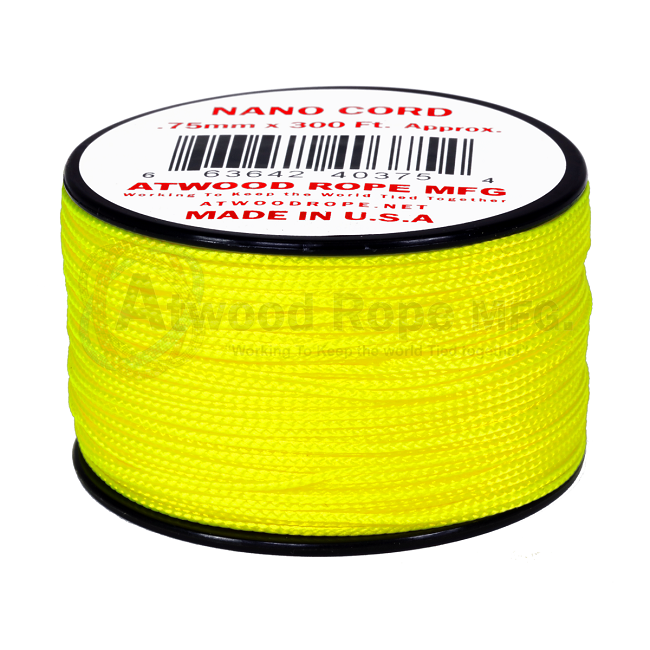 Nano Cord - 0.75mm x 300 Feet (100m) of Nano Paracord - Neon Yellow