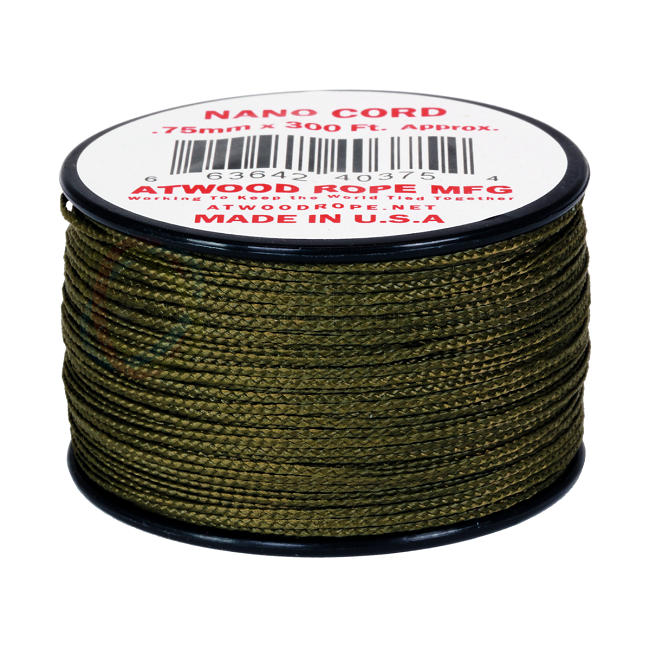 Nano Cord - 0.75mm x 300 Feet (100m) of Nano Paracord - Olive Green