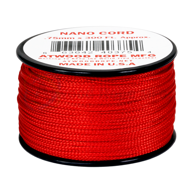 Nano Cord - 0.75mm x 300 Feet (100m) of Nano Paracord - Red