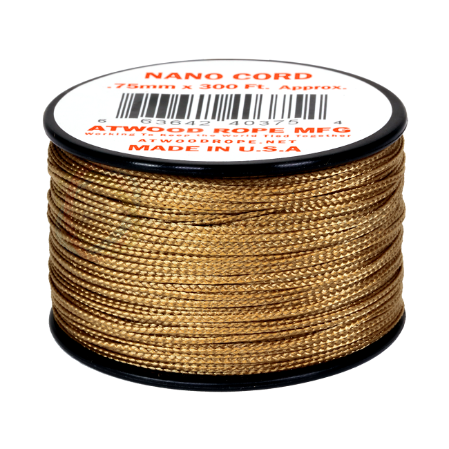 Nano Cord - 0.75mm x 300 Feet (100m) of Nano Paracord - Tan