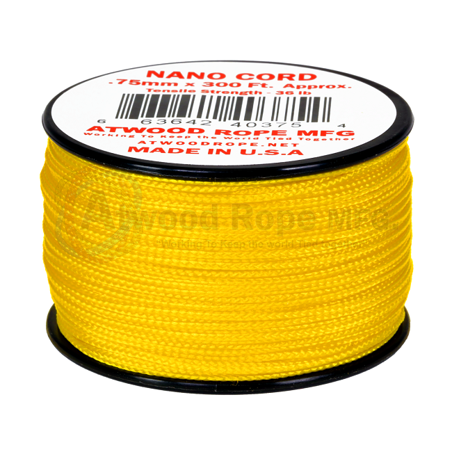 Nano Cord - 0.75mm x 300 Feet (100m) of Nano Paracord - Yellow