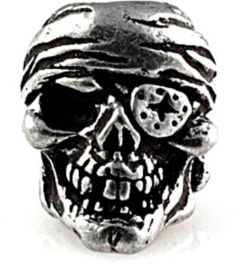 One Eyed Jack Pewter Skull Bead