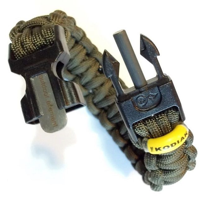 Outdoor Element Kodiak 550 Paracord Survival Bracelet - Olive Green
