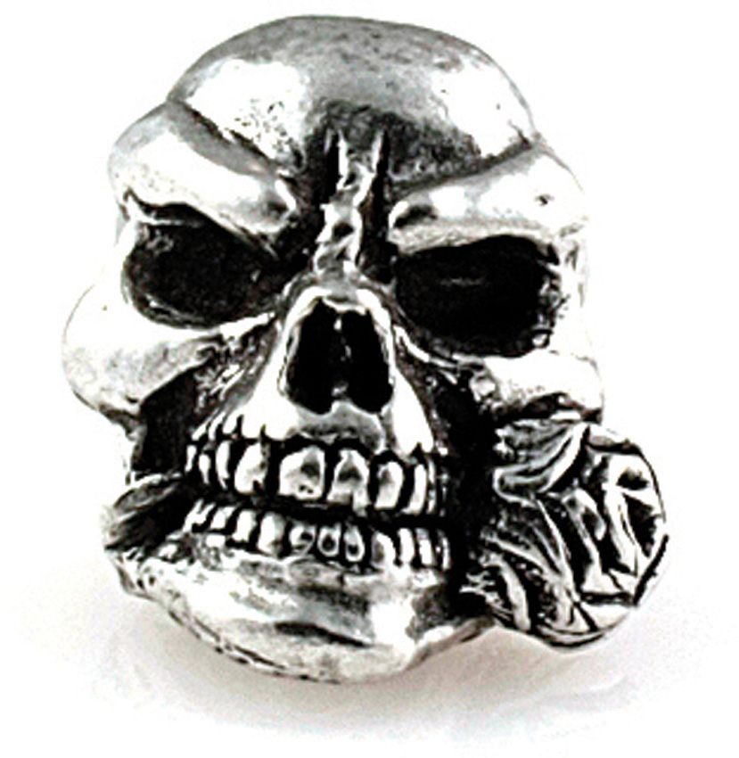 Rose Skull Pewter Bead