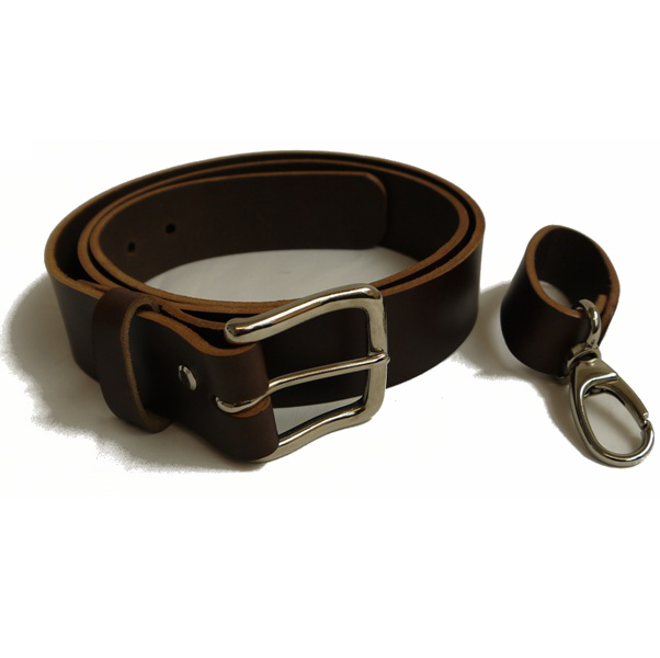 Six Magpies Leather Belt with additional Equipment Loop - Brown