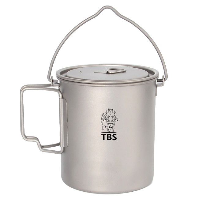 TBS 750ml Titanium Billy Can Cup with Bail Handle & Lid