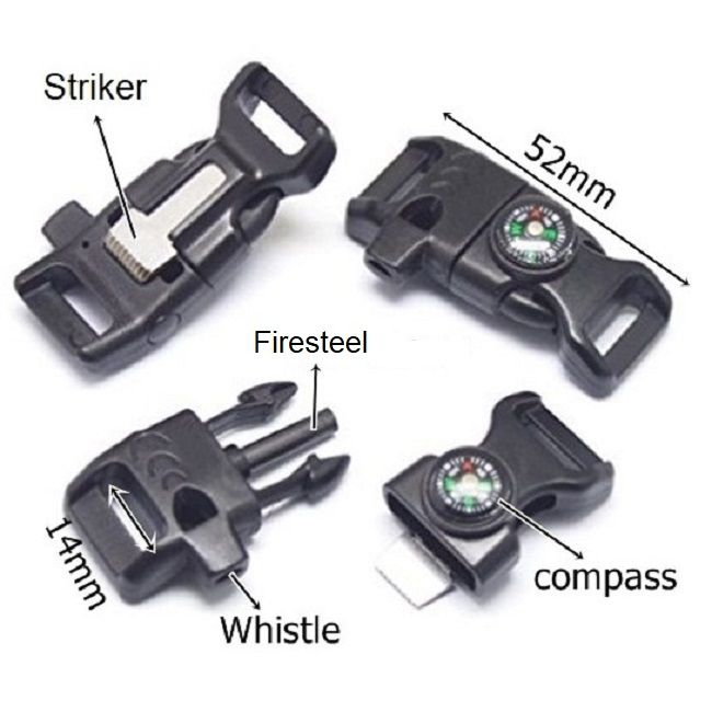 TBS Firesteel Buckle - Firesteel, Striker, Whistle and Paracord Bracelet Buckle in one! - Black