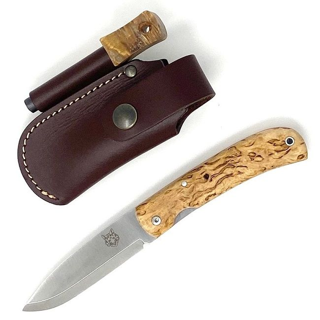 TBS Fox Folding Lock Knife with Belt Pouch & Firesteel - Curly Birch