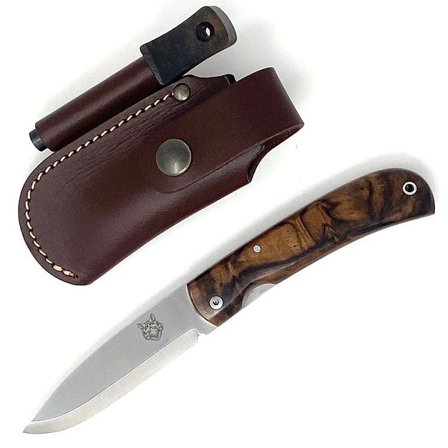TBS Fox Folding Lock Knife with Belt Pouch & Firesteel - Turkish Walnut