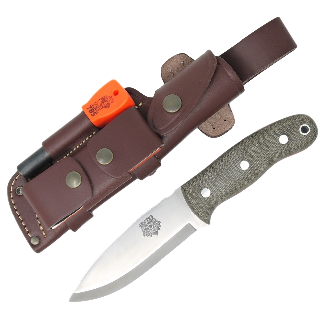 TBS Grizzly Bushcraft Survival Knife - Military Model - DC4 & Firesteel Edition