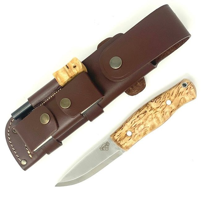 TBS Wolverine Puukko Bushcraft Knife - Curly Birch - DC4 & Firesteel Edition