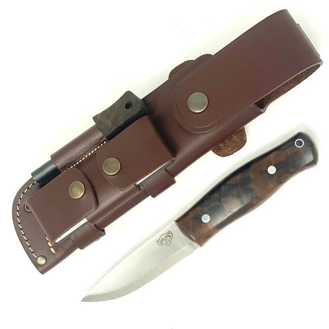 TBS Wolverine Puukko Bushcraft Knife - Turkish Walnut - DC4 & Firesteel Edition