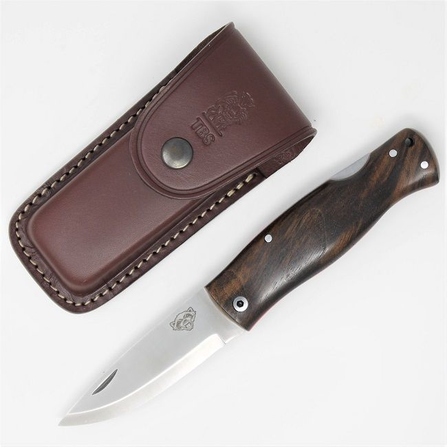 TBS Wolverine Puukko Folding Knife - Turkish Walnut - Multi Carry Belt Pouch